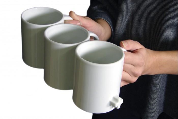 tazas que se unen en una sola para llevarlas fácilmente