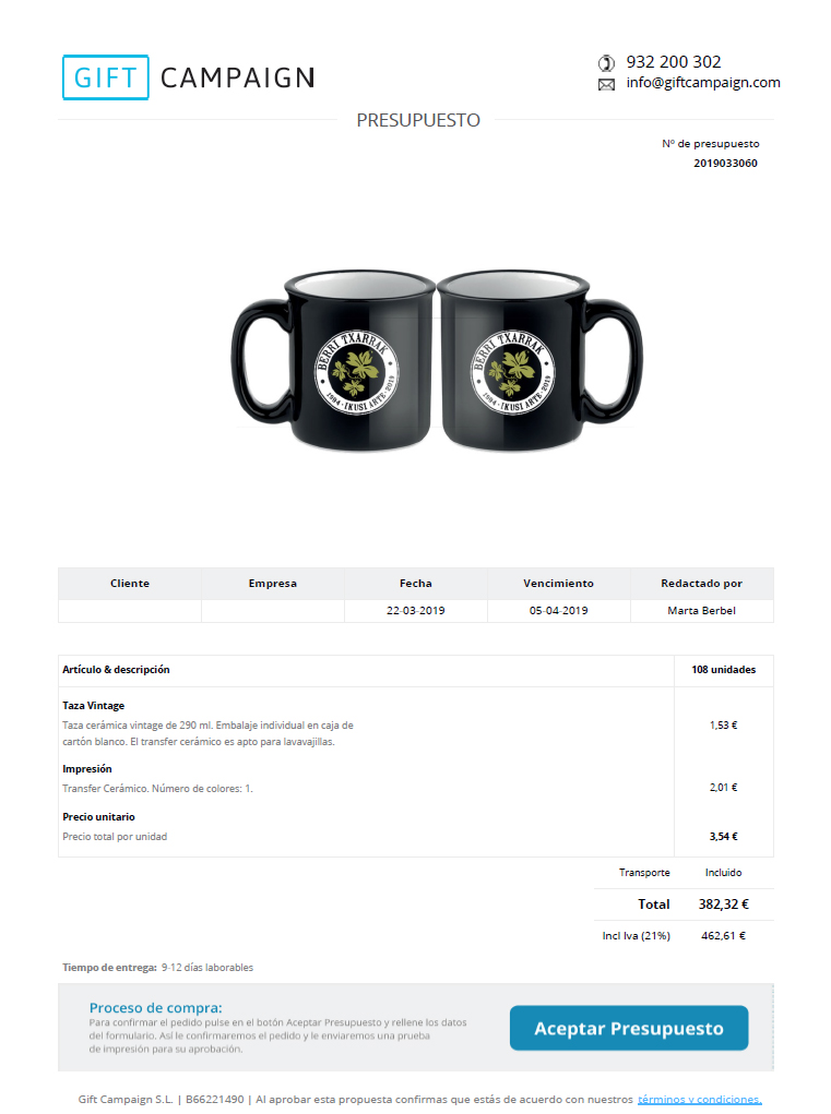 Presupuesto Gift Campaing tazas personalizadas