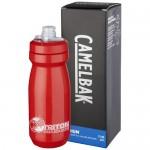 Botella plástico roja con logo