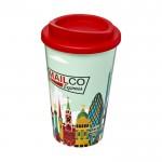 Tazas de café para llevar con logotipo rojo