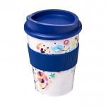 Tazas de café para llevar con logo empresa azul marino