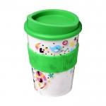 Vasos de café para llevar con logo verde