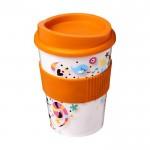 Tazas para llevar café con logotipo naranja