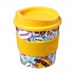 Tazas pequeñas para llevar café con logo amarillo