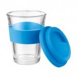 Vasos take away de cristal personalizados color azul segunda vista