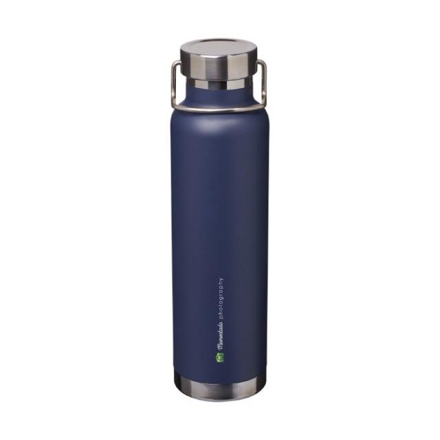 Botellas publicitarias metal azul