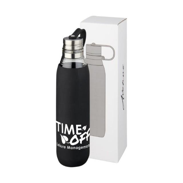 Botella personalizada de cristal con funda negro