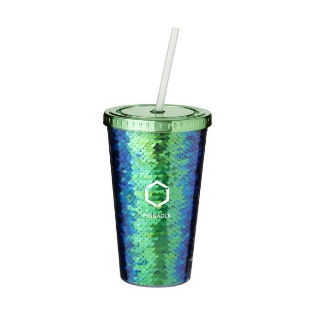 Vasos reutilizables personalizados con pajita verde