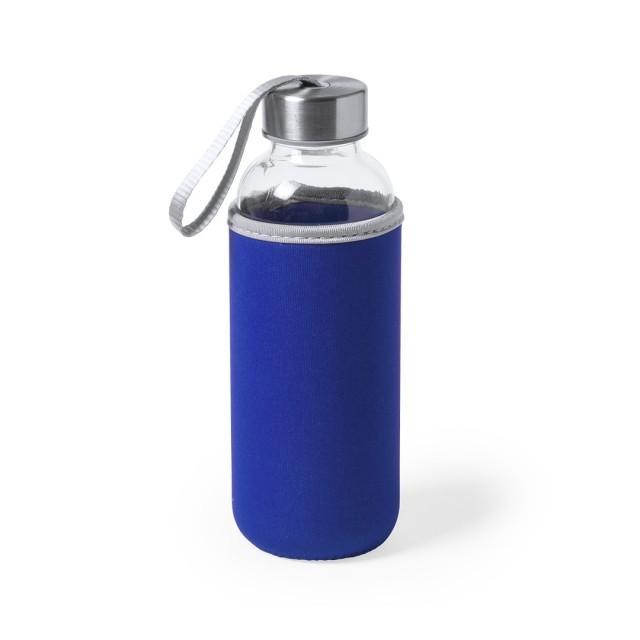 Botellas de cristal con funda personalizable color azul