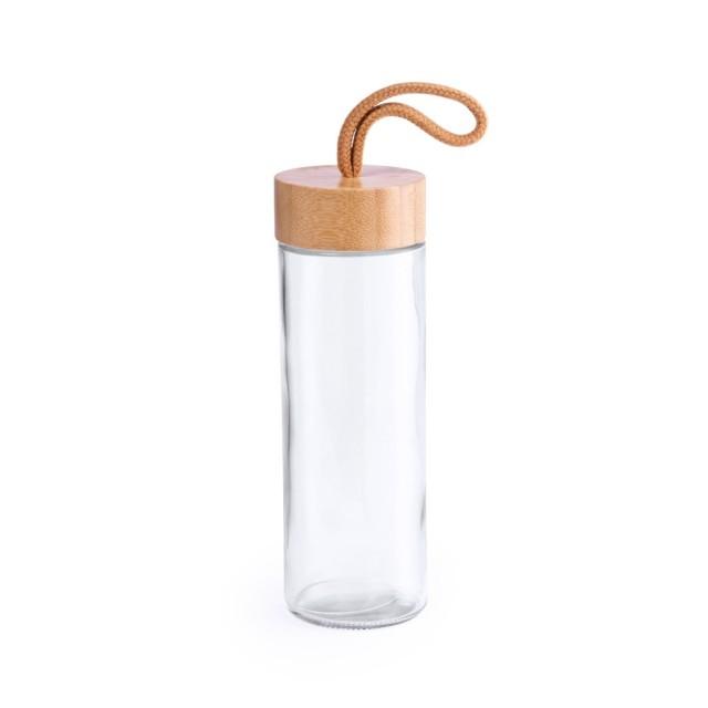 Botellas de cristal promocionales tapón de bambú color transparente
