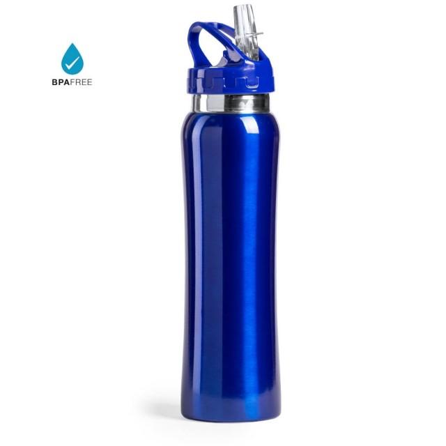 Botella con pajita personalizada azul