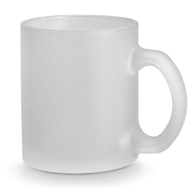 Tazas de vidrio esmerilado para empresa color blanco