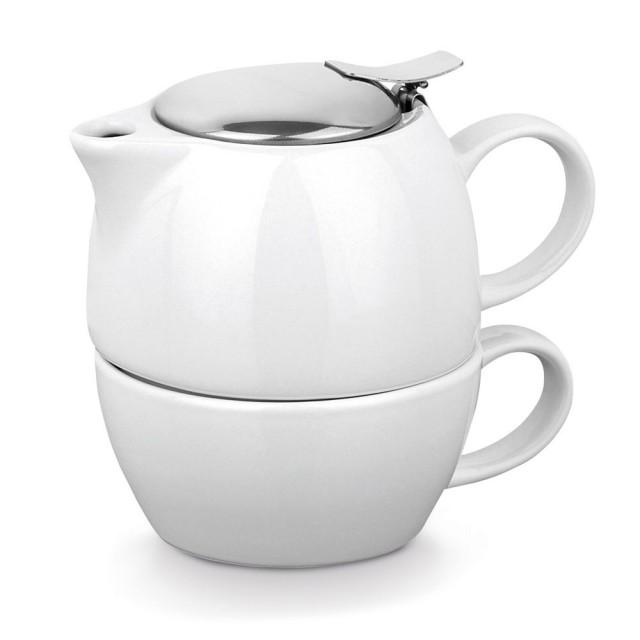 Juego de té tetera con taza de cerámica color blanco