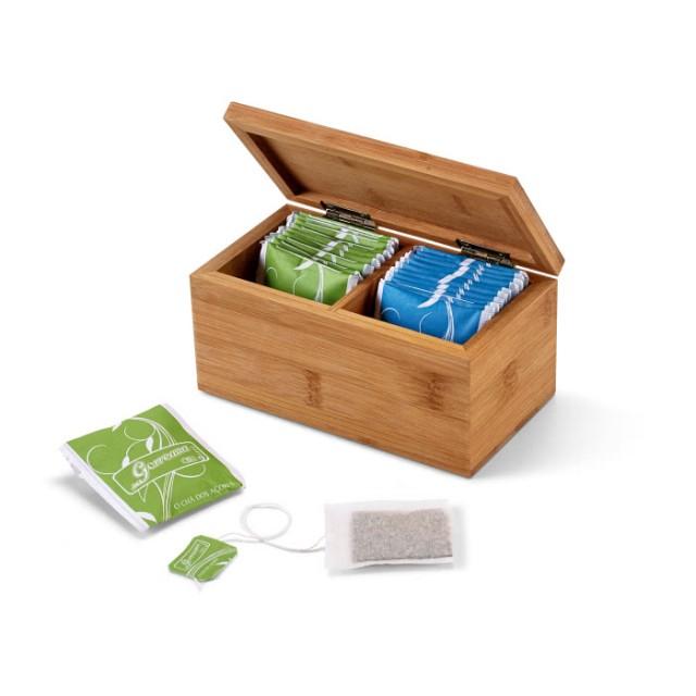 Caja pequeña con infusiones color marfil