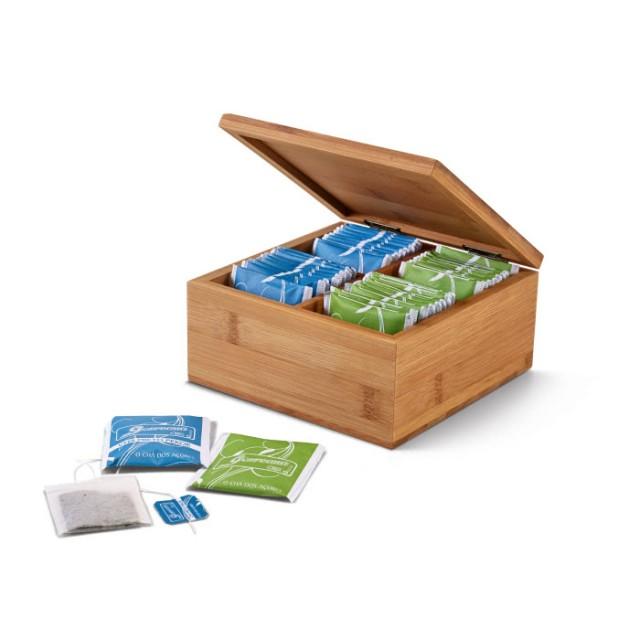 Caja personalizable con infusiones color marfil