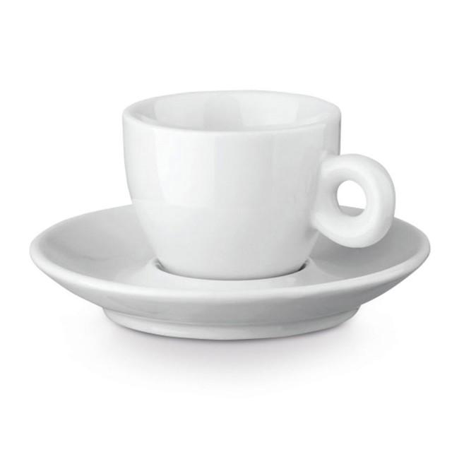 Tazas de café publicitarias con plato color blanco