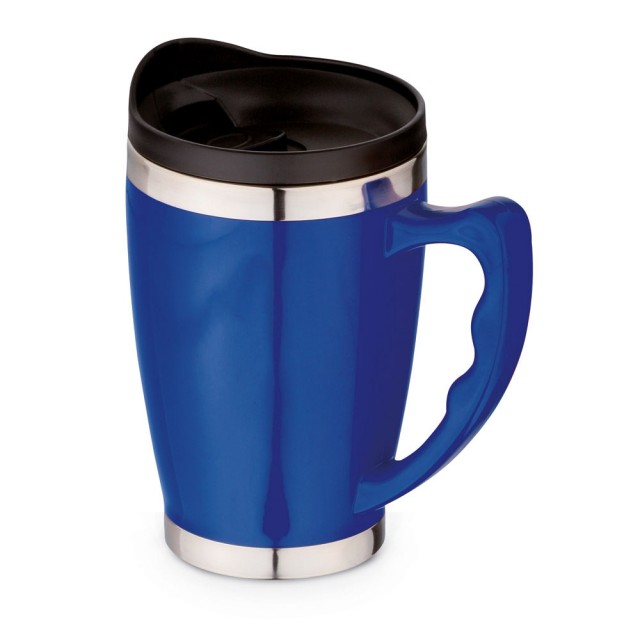 Tazas para viaje con asa corporativas color azul