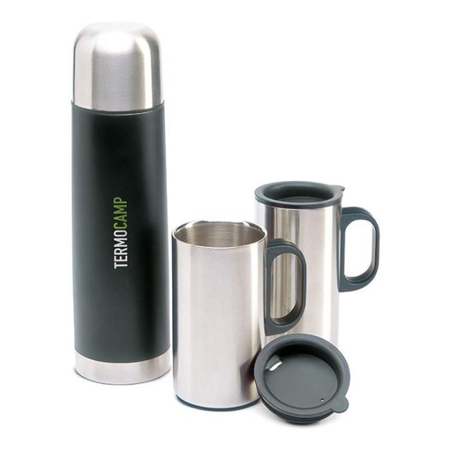 Set de tazas metálicas y termo con logo (500ml)