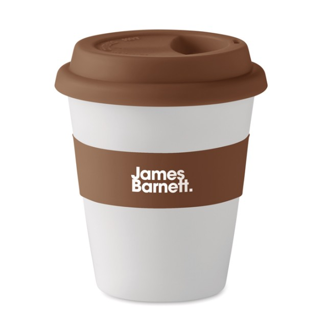 Tazas takeaway ecológicas personalizadas color marrón con logo