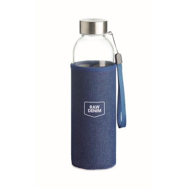 Bidón de cristal con funda personalizable color azul con logo