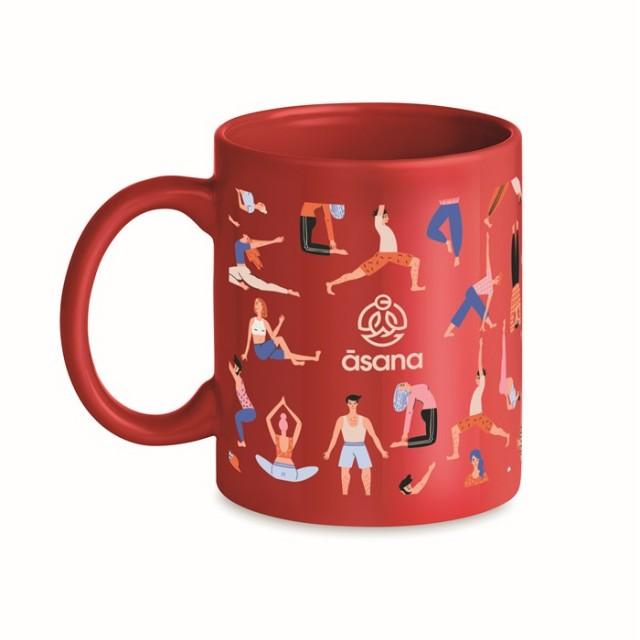 Mugs de cerámica personalizados en color color rojo con logo