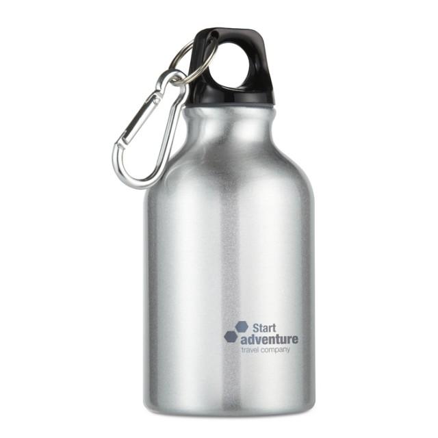 Botella aluminio con logo plateado