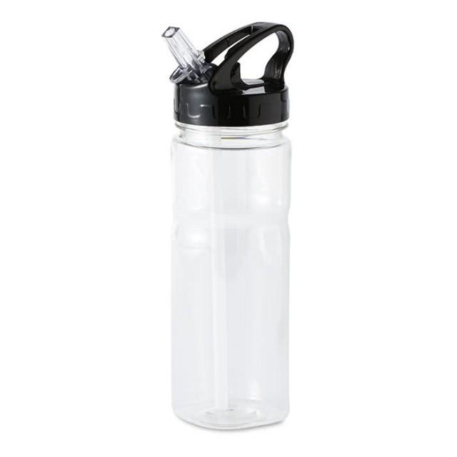 Botella de tritán con logo y pajita