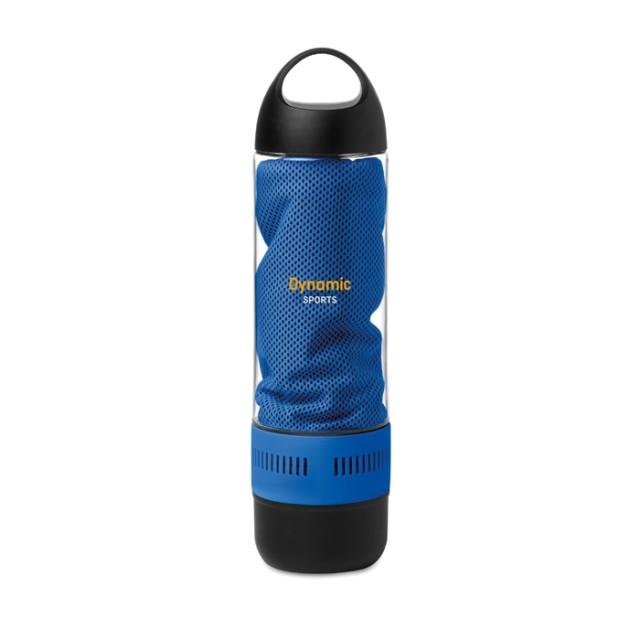 Bidones deportivos personalizados con toalla y altavoz azul