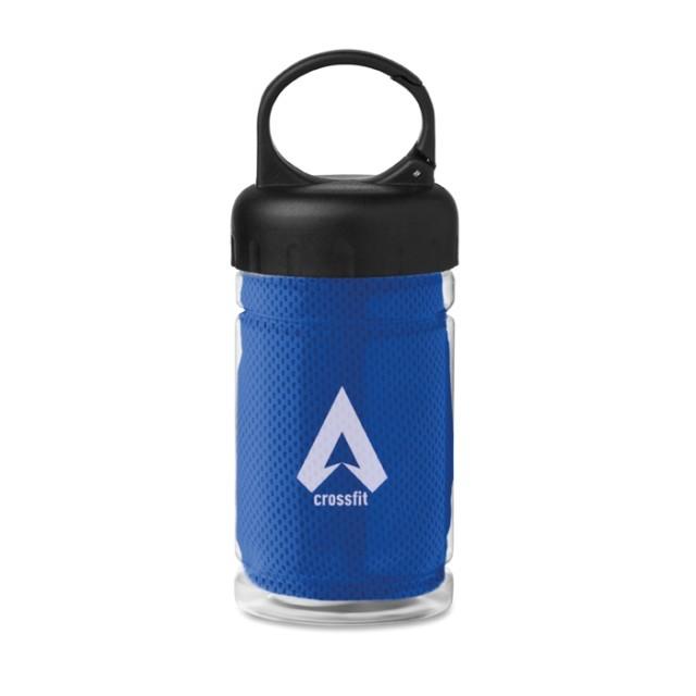 Botellas deporte con logotipo y toalla azul