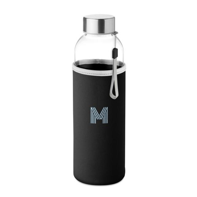 Botella de vidrio con logo y funda de neopreno negro