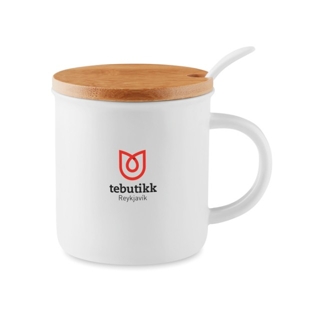 Taza con cuchara y tapa color blanco con logo