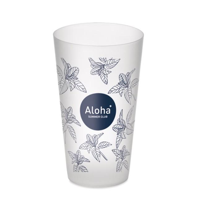 Vasos personalizados baratos en PP color blanco con logo