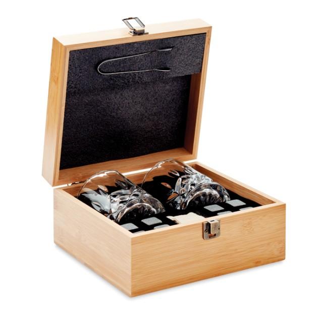 Kit con vasos para whisky y hielo reutilizable color madera