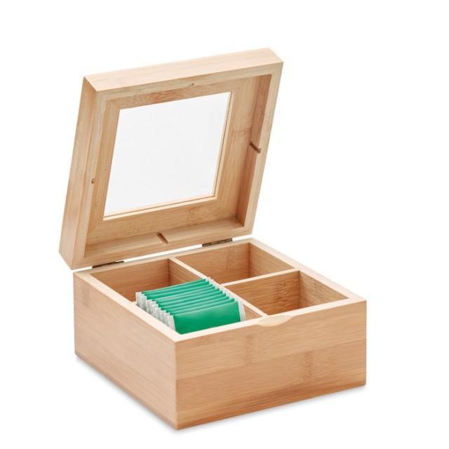 Caja de té personalizada de bambú color madera segunda vista