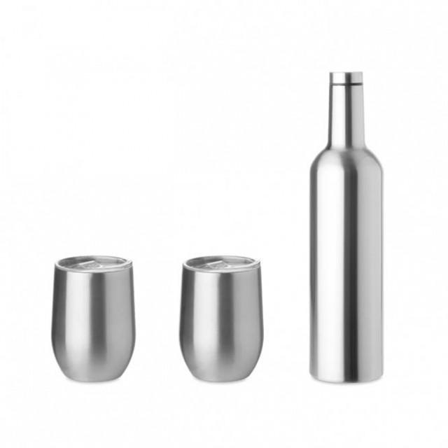 Set botella y tazas de acero personalizables