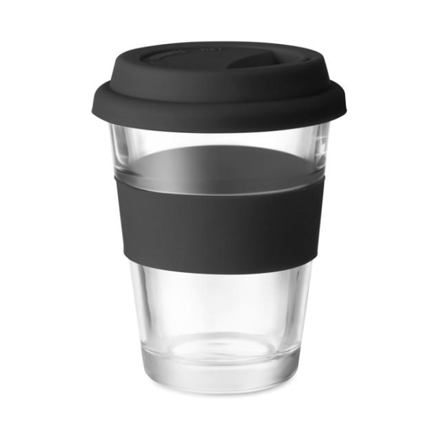 Vasos take away de cristal personalizados color negro