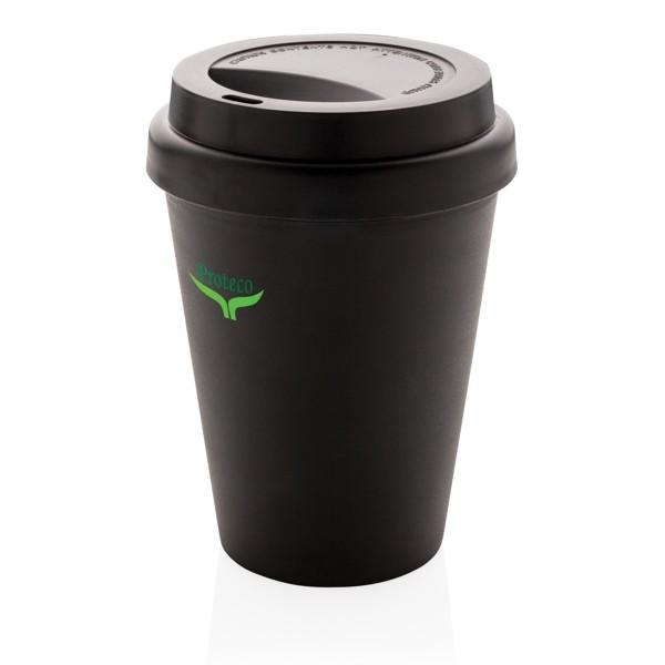 Vasos con tapa personalizados reciclables color negro